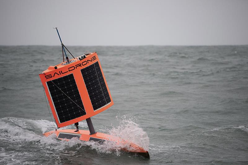SD 1020 approaches Point Bluff, New Zealand, in stormy conditions after finishing the First Saildrone Antarctic Circumnavigation, sailing 22,000 kilometres around the Southern Ocean in 196 days. - photo © Richard Jenkins