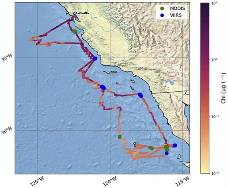 Locations of Saildrone vehicle ChlF measurements taken off western coast of Mexico & U.S. Shading of vehicle's trajectory indicates ChlF measured with NPQ correction applied. The green & blue markers indicate MODIS-Aqua & VIIRS-SNPP matchup with saildrone - photo © Joel P. Scott