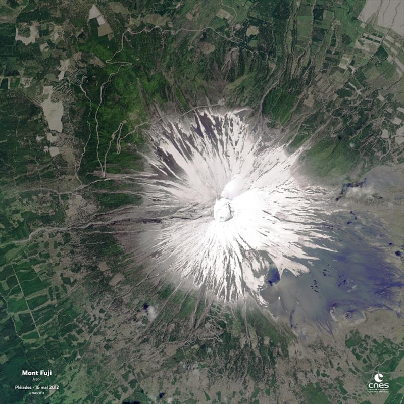Mount Fuji in Japan as seen by the Pleiades satellite on May 16, 2012 - photo © CNES