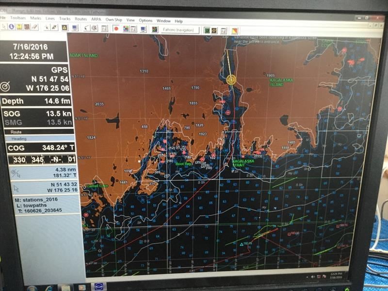 Navigational map showing vessel progress through Kagalaska Strait, heading to the Bering Sea. - photo © NOAA Fisheries