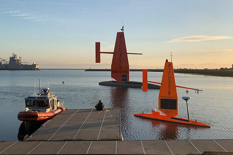 The Saildrone Surveyor with the 23-foot Saildrone Explorer and Saildrone Support boat in Alameda, CA. - photo © Saildrone