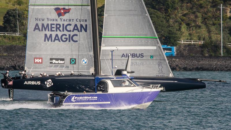 The Predictwind work boat accompanies American Magic - Waitemata Harbour - September 25, 2020 - 36th America's Cup photo copyright Richard Gladwell - Sail-World.com / nz taken at New York Yacht Club and featuring the  class
