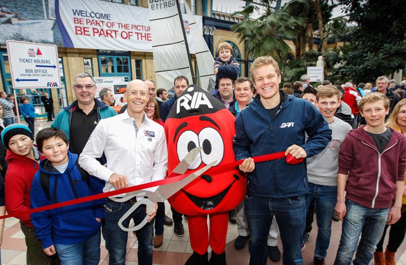Laser World Champion Nick Thompson and Ben Ainslie Racing sailor David 'Freddie' Carr officially open the 2015 RYA Suzuki Dinghy Show  - photo © Paul Wyeth