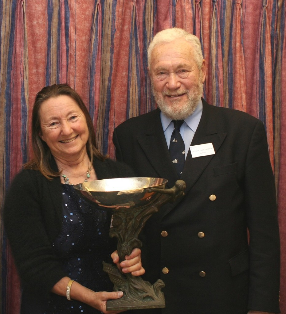 Jeanne Socrates accepts the Duchess of Kent Trophy from Sir Robin Knox-Johnston - photo © SW
