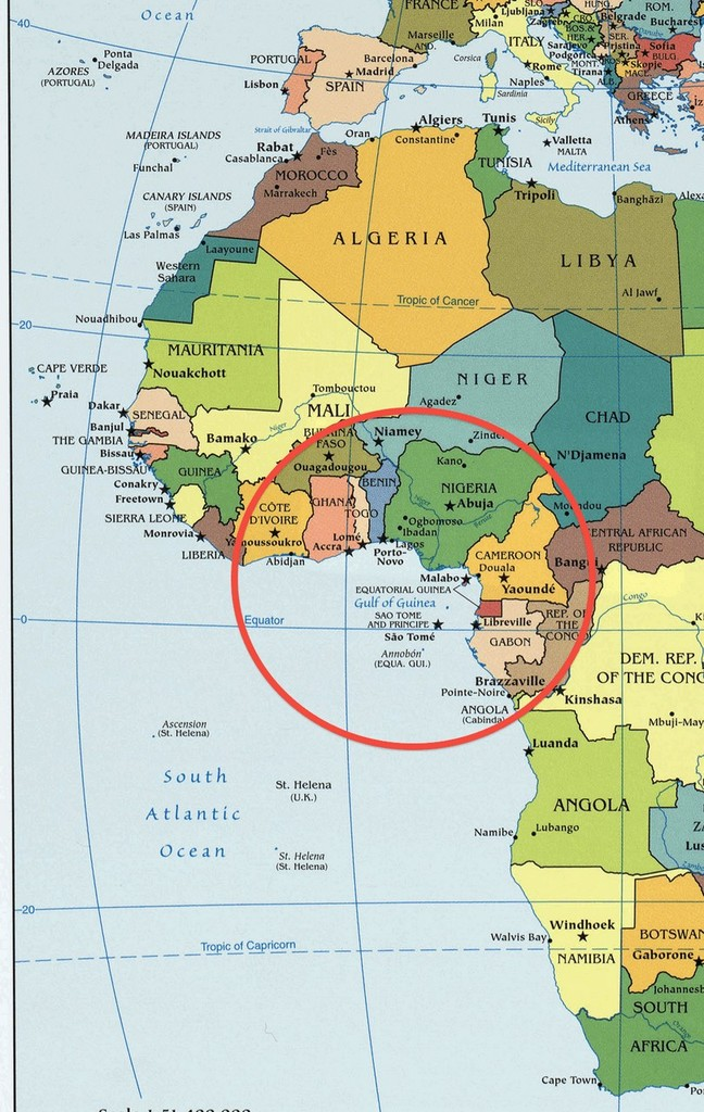 Gulf Of Guinea On World Map | Map Of Us Western States