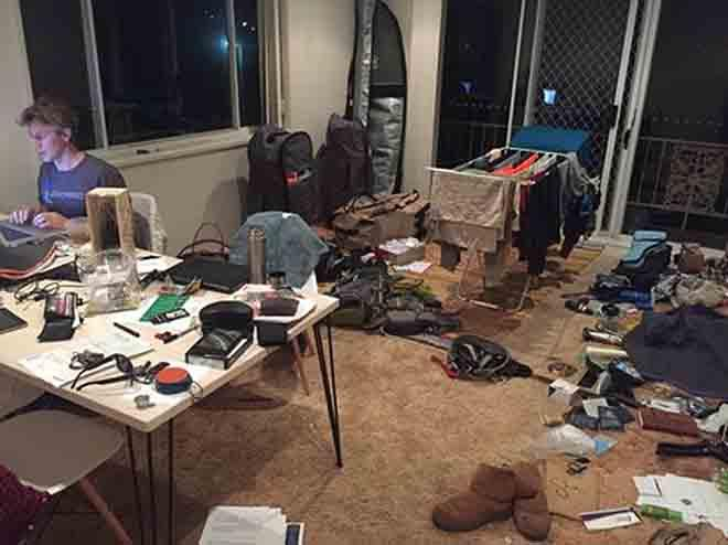 Then end stage of our mostly deconstructed home. Piles and piles of carefully selected items to take - from electronics, to tools, to bikinis, to sunscreen. Have never packed quite like this before! © Voyage of Te Mana