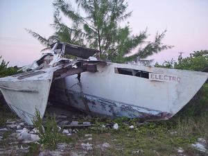 What is left of the plywood trimaran, Tiegnmouth Electron - photo © SW