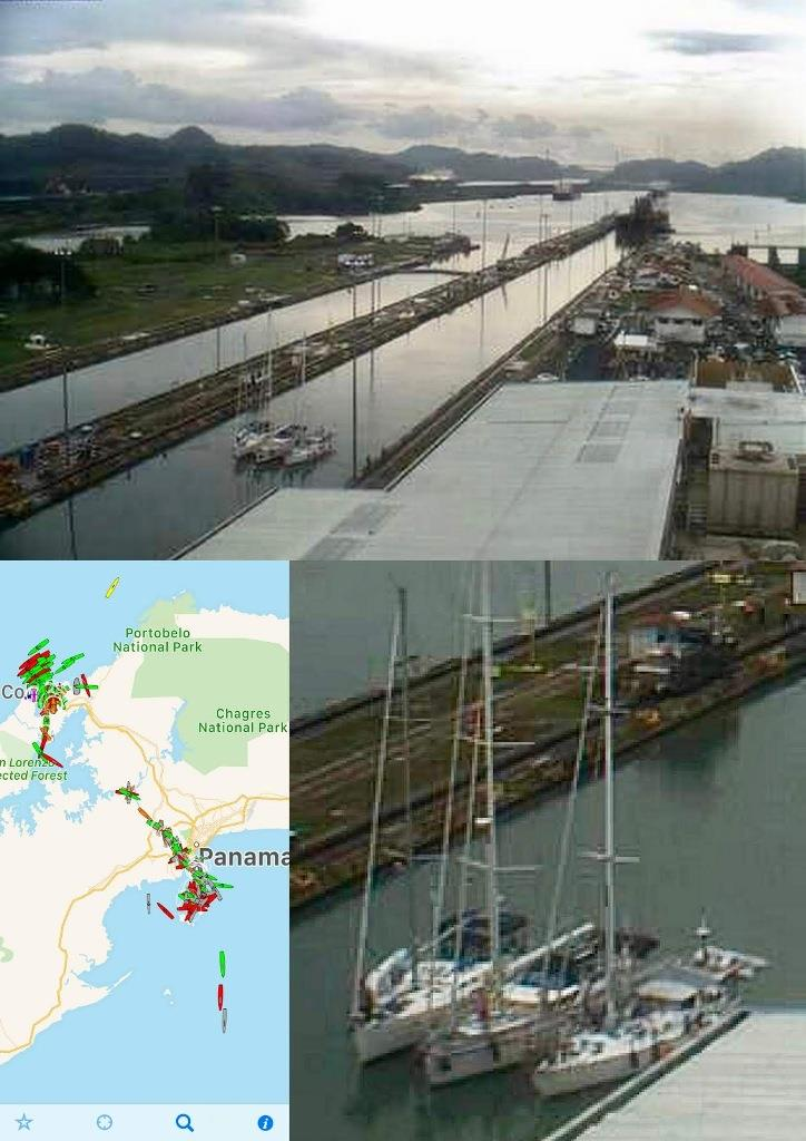 Taipan on the bottom right. Shots from the Live WebCam at Miraflores Lock, AIS targets in the canal. - photo © SV Taipan