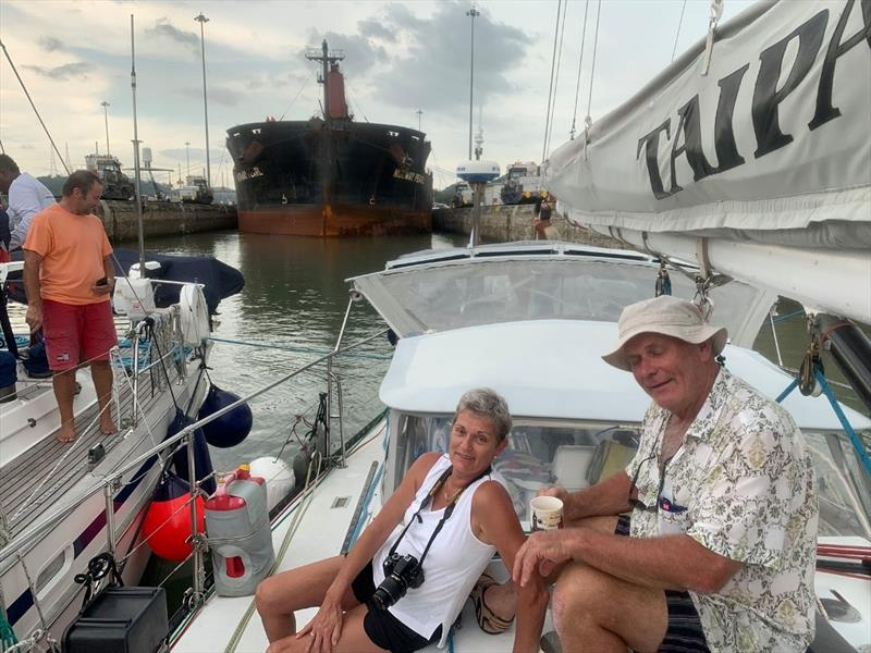Happy crew, Corinne and Michael, (Andrew behind). Arrived in the Pacific. Now they've done the canal both ways. Once by ship and now on a real boat! - photo © SV Taipan