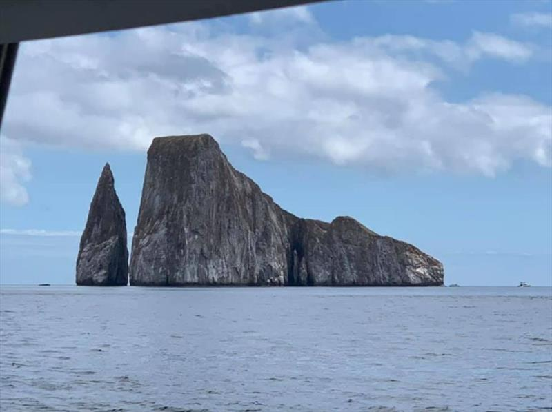 Roca Petradora on approach to San Cristobal photo copyright SV Taipan taken at  and featuring the Taipan class