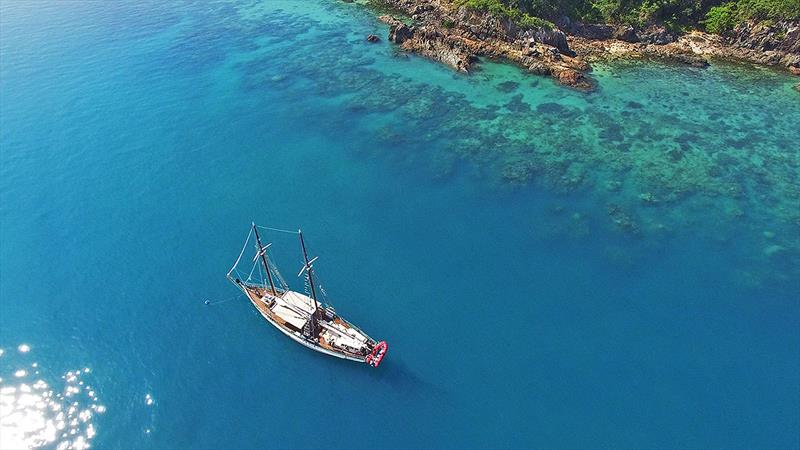 The Derwent Hunter 'hard' at work letting her passengers experience the Great Barrier Reef for themselves. - photo © Tallship Adventures