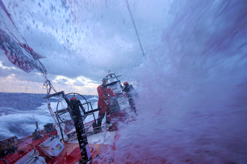 OK it is a race boat, but it is still a wall of water - photo © Hamish Hooper/CAMPER ETNZ/Volvo Ocean Race