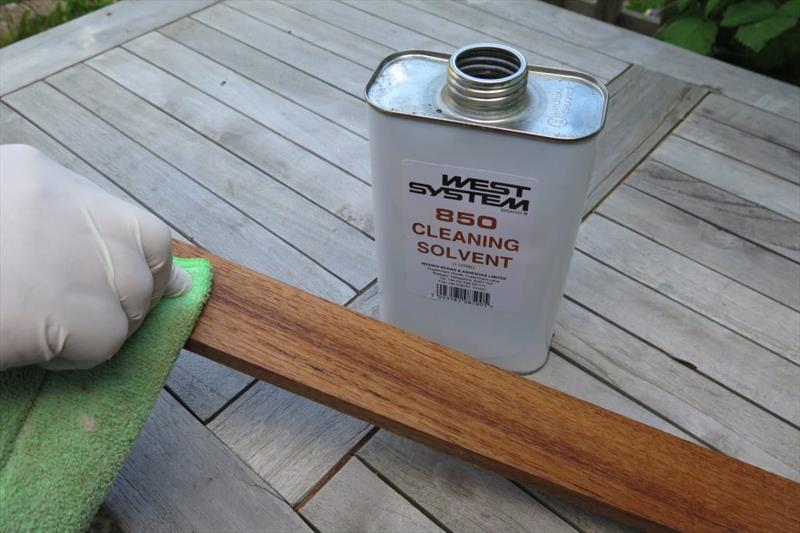 With teak you need to remove as much of the surface oil as possible - photo © Wessex Resins & Adhesives