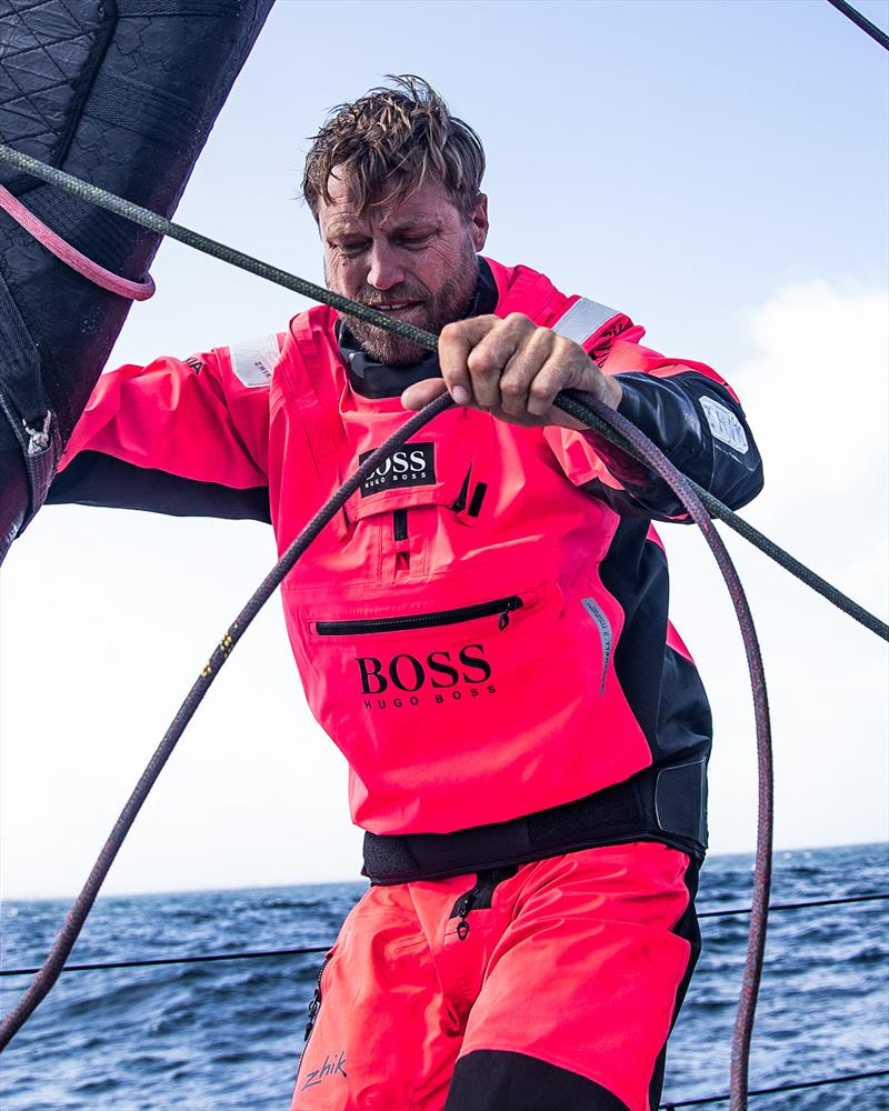 Alex Thomson wearing his Zhik Aroshell Smock - photo © Alex Thomson Racing